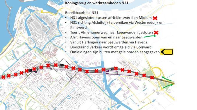 N31 Harlingen afgesloten voor testen Koningsbrug